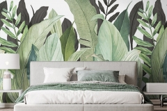 Luxury bright bedroom design, modern white bed and elegant home accessories on pastel blue wall background, 3d render